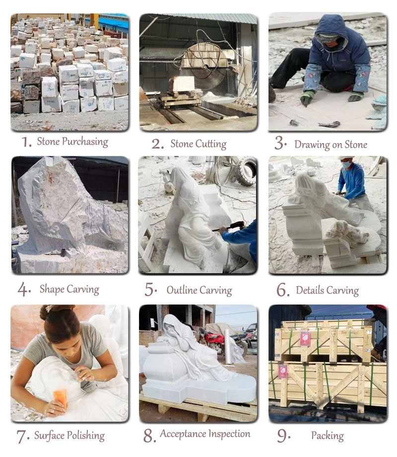 Factory Supplier Huge Wings White Marble Angel Statue Monument (1)