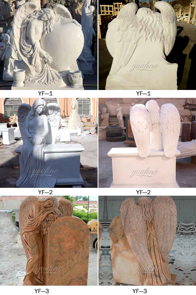 Factory Supplier Huge Wings White Marble Angel Statue Monument (2)