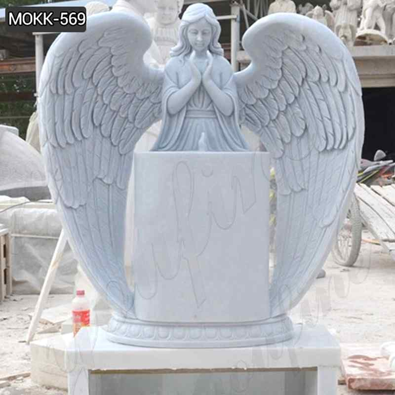Factory Supplier Huge Wings White Marble Angel Statue Monument (4)