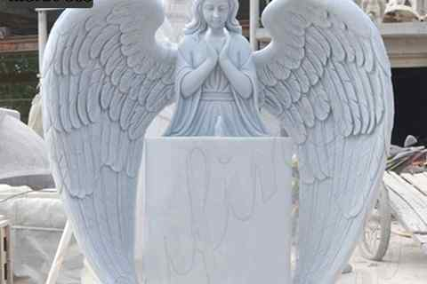Factory Supplier Huge Wings White Marble Angel Statue Monument (5)