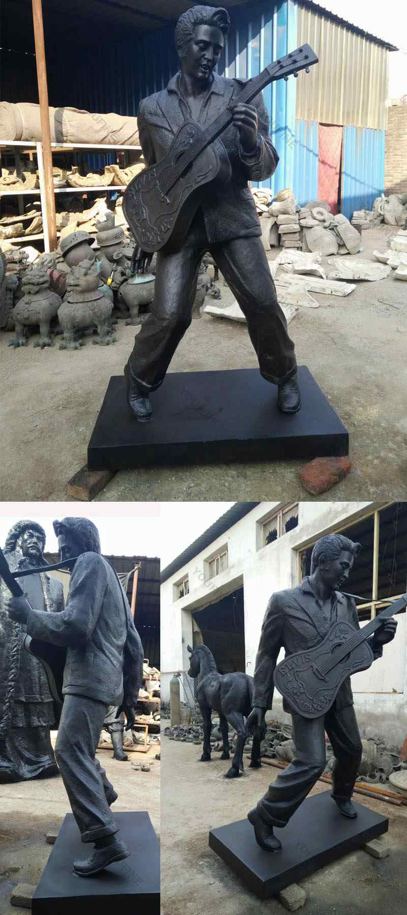 Famous Rock Playing Music Bronze Elvis Presley Statue (3)