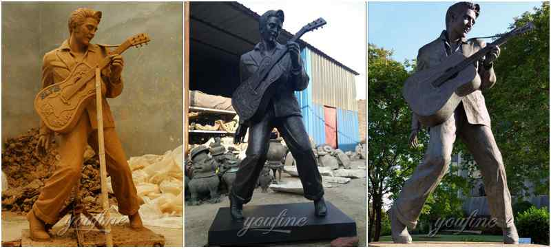 Famous Rock Playing Music Bronze Elvis Presley Statue (4)