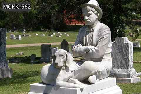 Hand Carved Loyal Dog Sculpture And Human Marble Monument (5)