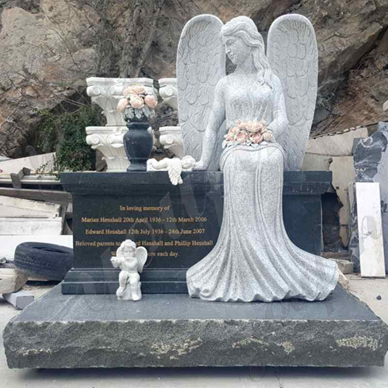 Sitting Angel Statue Black Granite monument Tombstone (1)