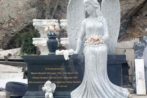 Sitting Angel Statue Black Granite monument Tombstone (2)