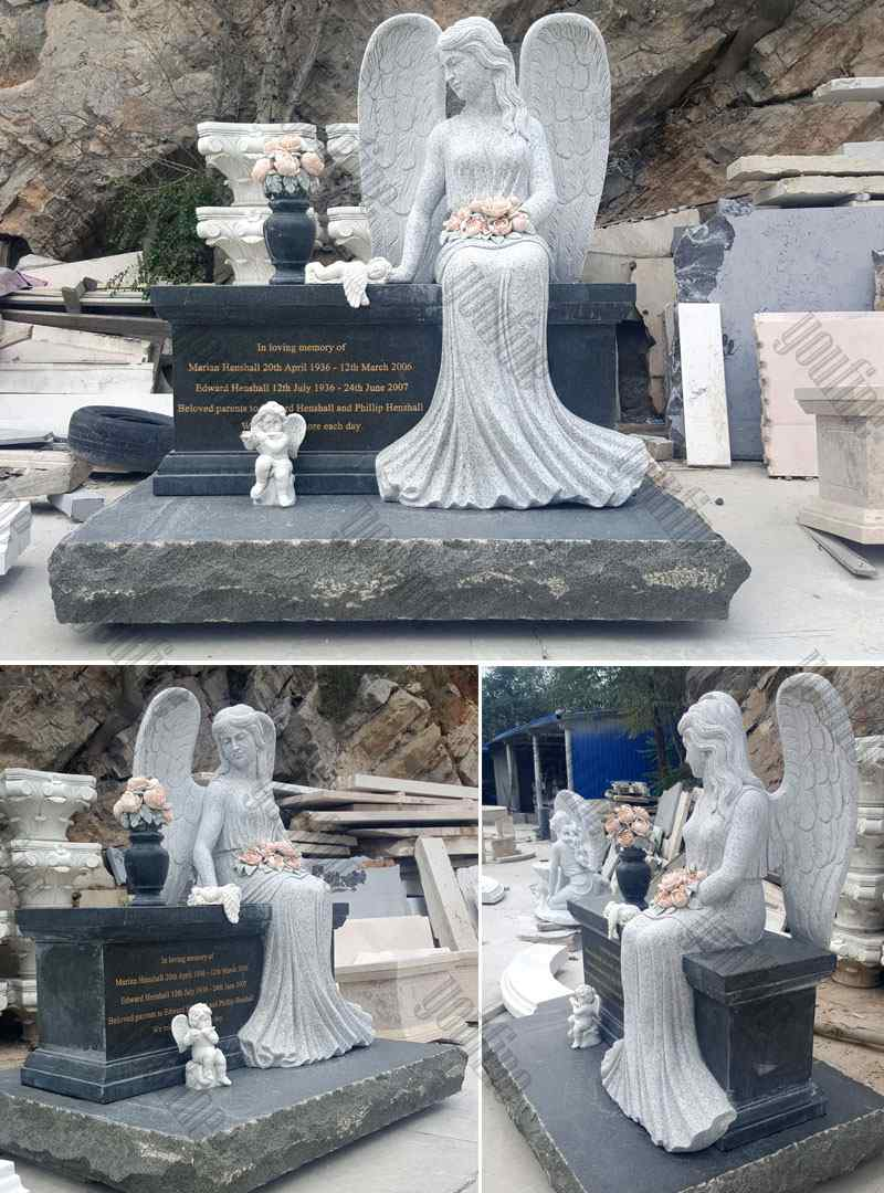 Sitting Angel Statue Black Granite monument Tombstone (4)